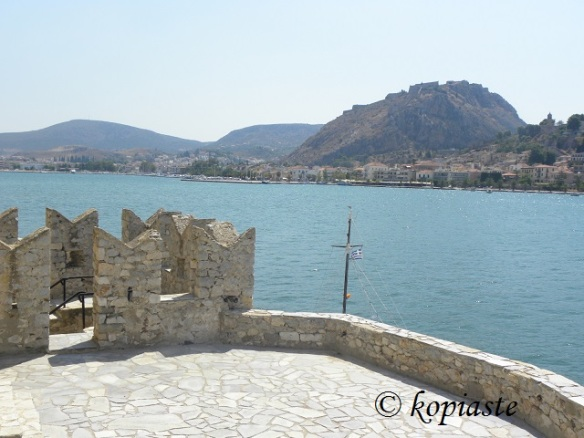 Swallow-tailed battlements and view of Nafplion from Bourdji
